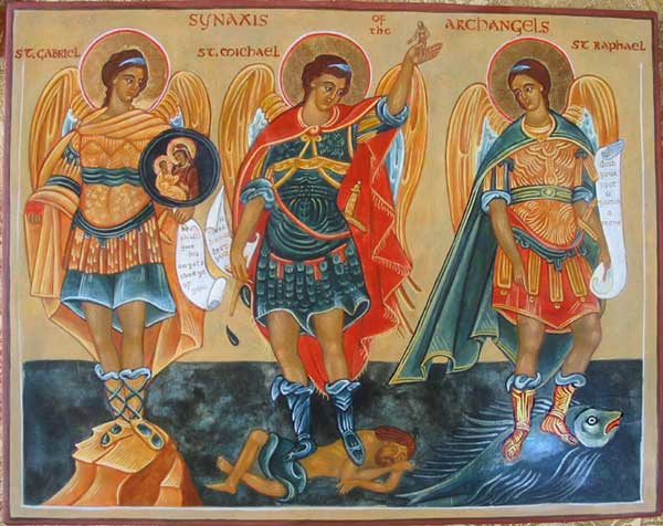 Archangels Gabriel, Michael, and Raphael