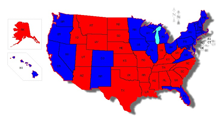 Map Of Red States Vs Blue States Pictures To Pin On Pinterest