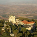Aerial view of the Church of Transfiguration at the summit of Mount Tabor.