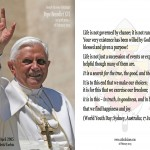 Pope Benedict XVI: Photo, 27 April 2005; Quotation, 17 July 2008