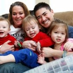 Thomas Beatie with his three children and wife Nancy