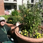 Richard Armstrong showing off his garden (2011).