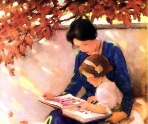 mother reading to daughter outdoors, motherhood, reading